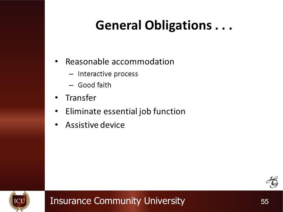 Insurance Community University 55 General Obligations...