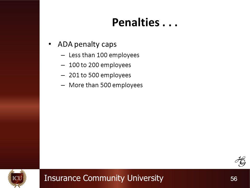 Insurance Community University 56 Penalties...