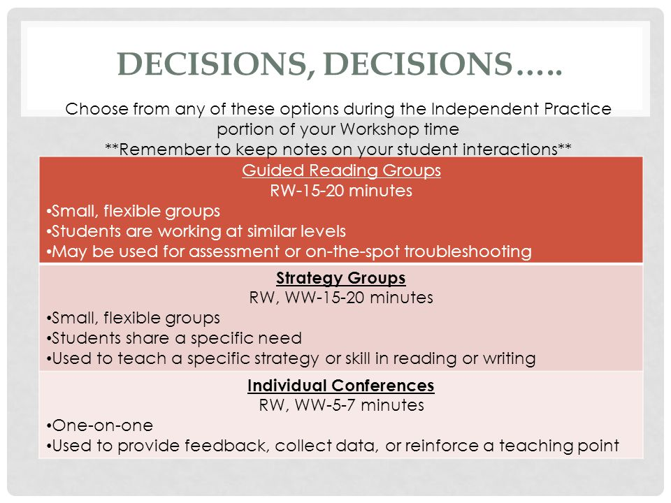 DECISIONS, DECISIONS….. Guided Reading Groups RW-15-20 minutes Small, flexible groups Students are working at similar levels May be used for assessmen