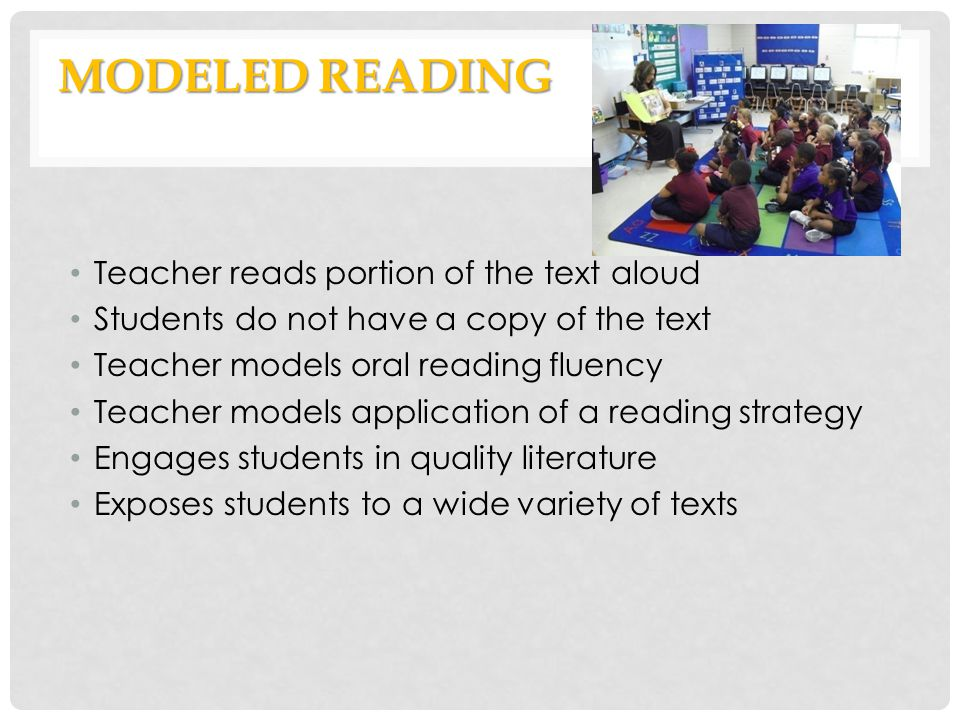 MODELED READING Teacher reads portion of the text aloud Students do not have a copy of the text Teacher models oral reading fluency Teacher models app