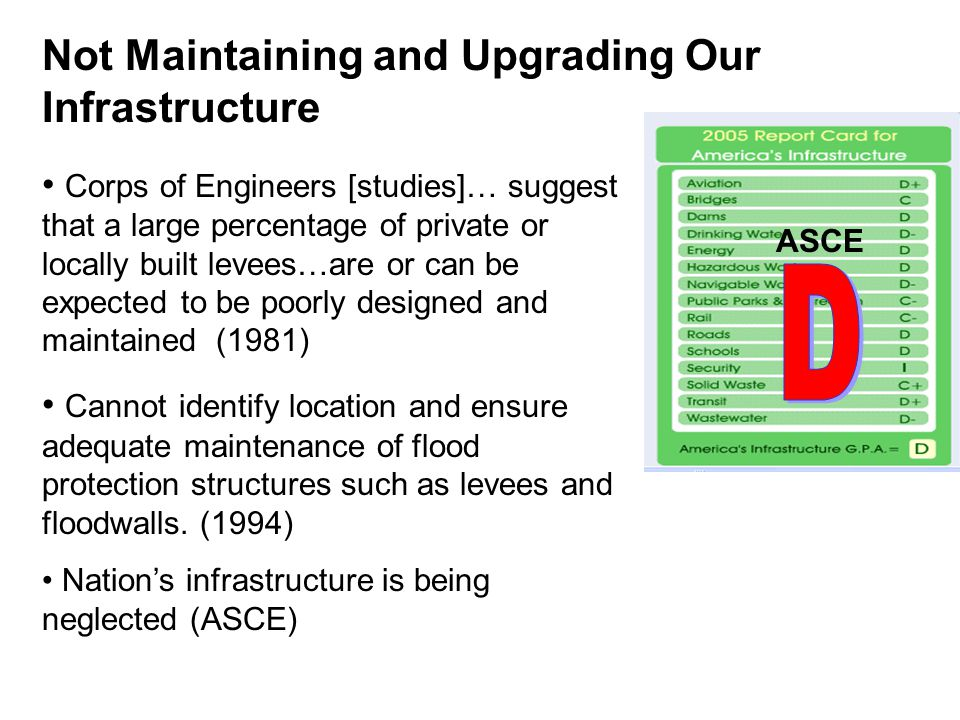 Corps of Engineers [studies]… suggest that a large percentage of private or locally built levees…are or can be expected to be poorly designed and maintained (1981) Cannot identify location and ensure adequate maintenance of flood protection structures such as levees and floodwalls.