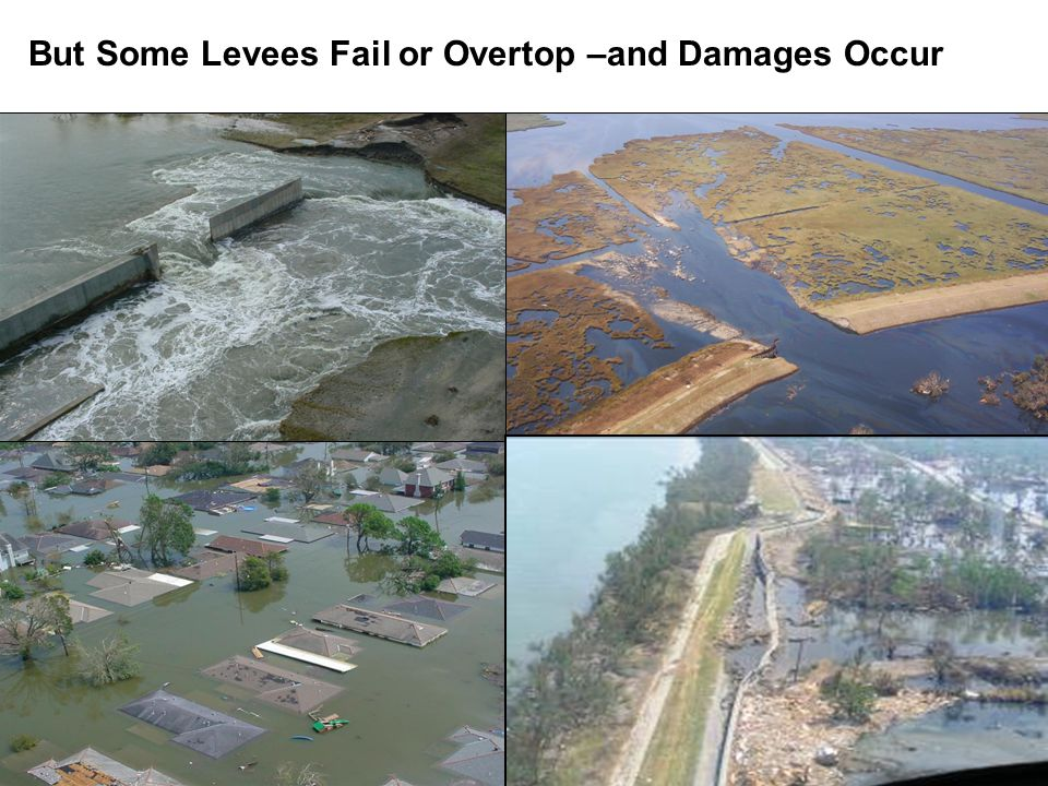 But Some Levees Fail or Overtop –and Damages Occur