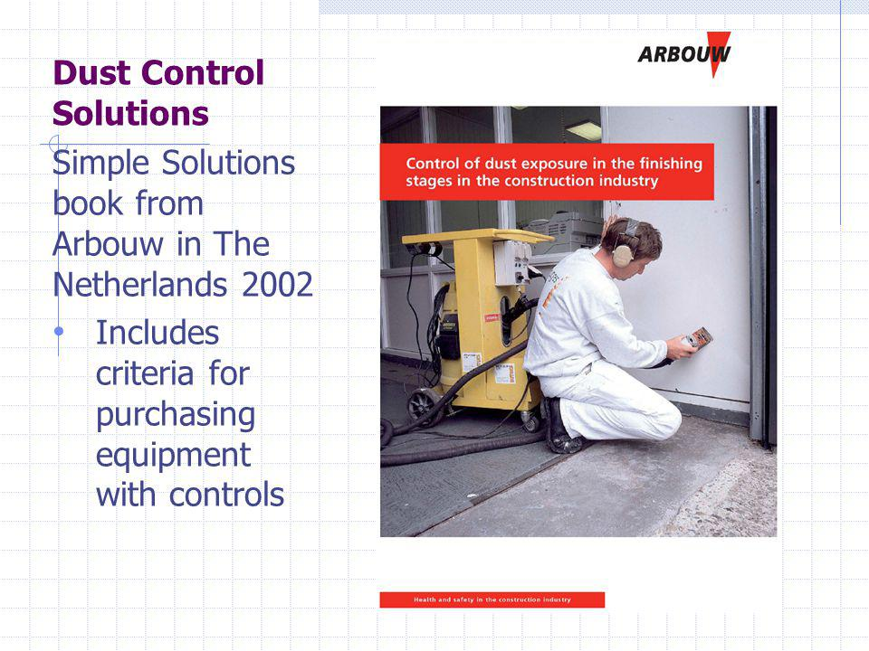 Dust Control Solutions Simple Solutions book from Arbouw in The Netherlands 2002 Includes criteria for purchasing equipment with controls
