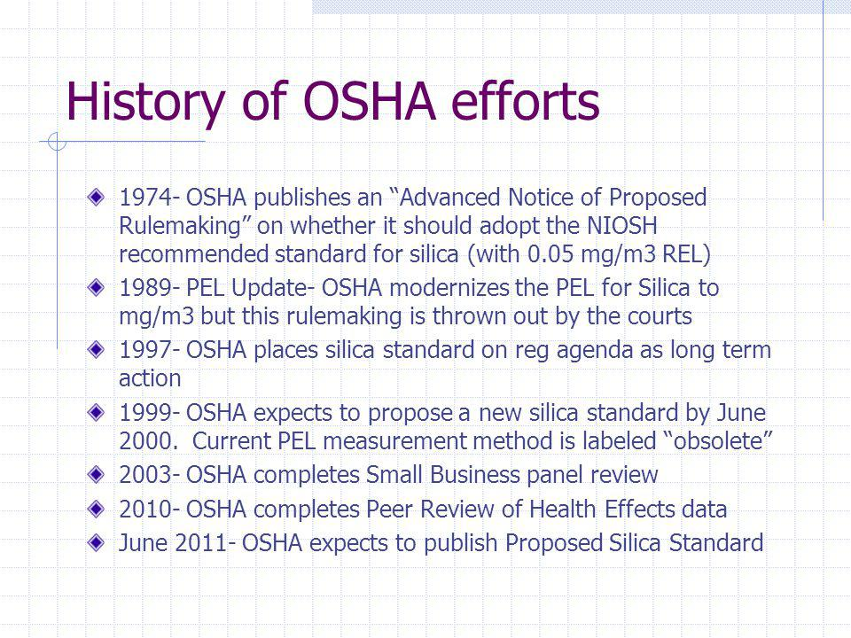 History of OSHA efforts 1974- OSHA publishes an Advanced Notice of Proposed Rulemaking on whether it should adopt the NIOSH recommended standard for s