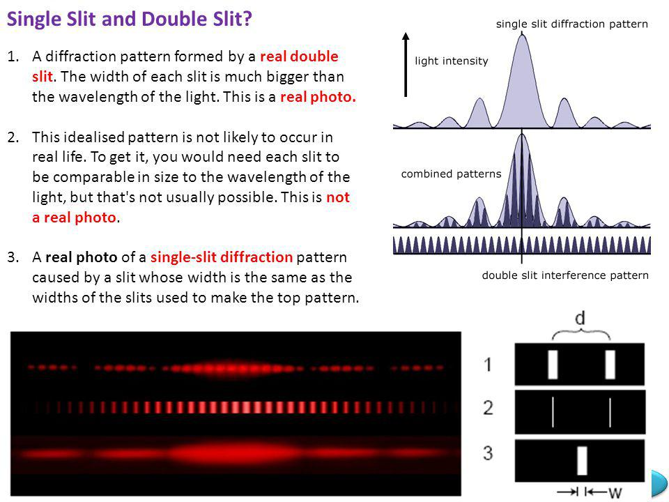 Mr Powell 2008 Index The double slit pattern is superimposed on the much broader single slit diffraction pattern. The bright central maximum is crosse