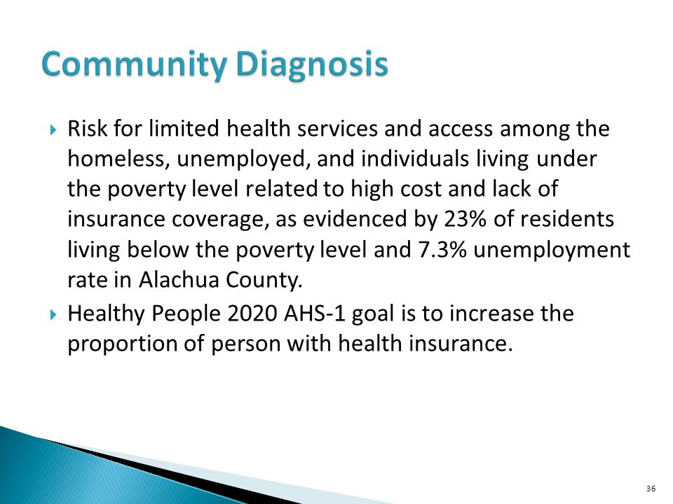 Risk for limited health services and access among the homeless, unemployed, and individuals living under the poverty level related to high cost and lack of insurance coverage, as evidenced by 23% of residents living below the poverty level and 7.3% unemployment rate in Alachua County.