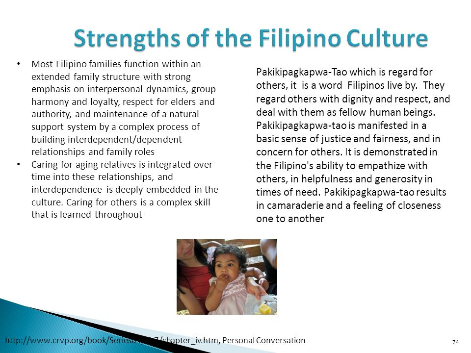 74 Most Filipino families function within an extended family structure with strong emphasis on interpersonal dynamics, group harmony and loyalty, respect for elders and authority, and maintenance of a natural support system by a complex process of building interdependent/dependent relationships and family roles Caring for aging relatives is integrated over time into these relationships, and interdependence is deeply embedded in the culture.