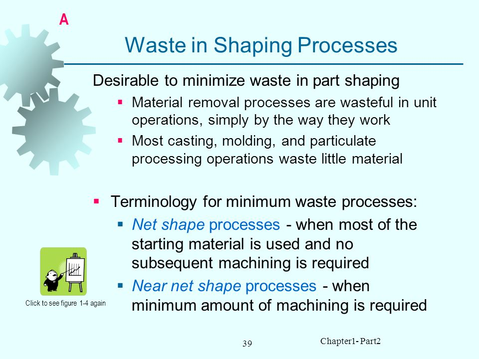 39 Chapter1- Part2 Waste in Shaping Processes Desirable to minimize waste in part shaping Material removal processes are wasteful in unit operations, simply by the way they work Most casting, molding, and particulate processing operations waste little material Terminology for minimum waste processes: Net shape processes - when most of the starting material is used and no subsequent machining is required Near net shape processes - when minimum amount of machining is required Click to see figure 1-4 again A