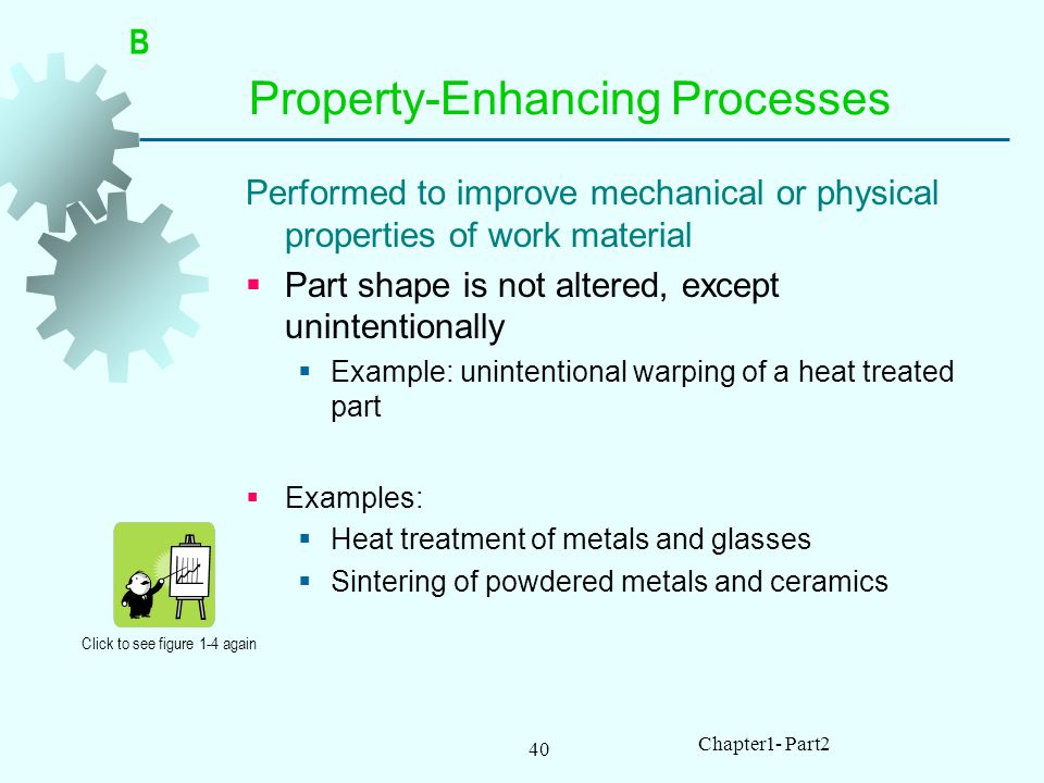 40 Chapter1- Part2 Property Enhancing Processes Performed to improve mechanical or physical properties of work material Part shape is not altered, except unintentionally Example: unintentional warping of a heat treated part Examples: Heat treatment of metals and glasses Sintering of powdered metals and ceramics Click to see figure 1-4 again B
