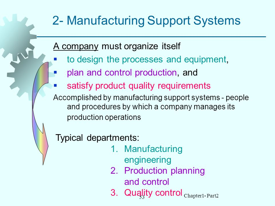 53 Chapter1- Part2 2- Manufacturing Support Systems A company must organize itself to design the processes and equipment, plan and control production, and satisfy product quality requirements Accomplished by manufacturing support systems people and procedures by which a company manages its production operations Typical departments: 1.Manufacturing engineering 2.Production planning and control 3.Quality control