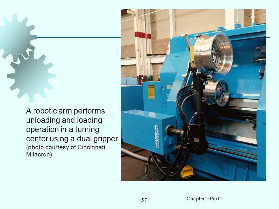 57 Chapter1- Part2 A robotic arm performs unloading and loading operation in a turning center using a dual gripper (photo courtesy of Cincinnati Milacron).