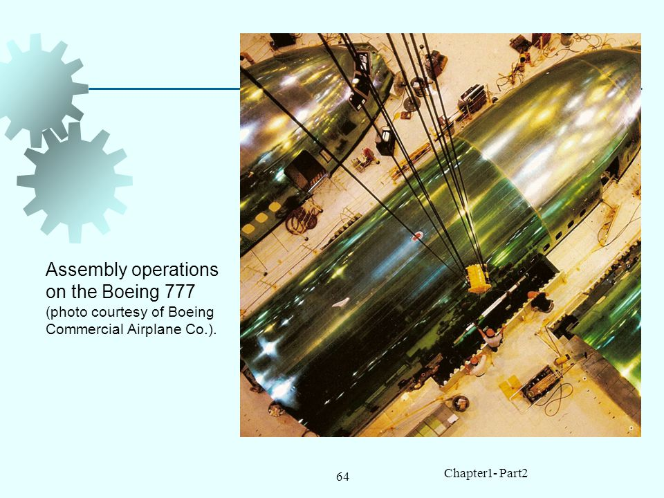 64 Chapter1- Part2 Assembly operations on the Boeing 777 (photo courtesy of Boeing Commercial Airplane Co.).