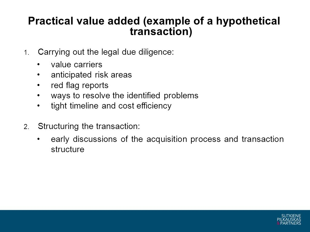 Practical value added (example of a hypothetical transaction) (contd.) 3.