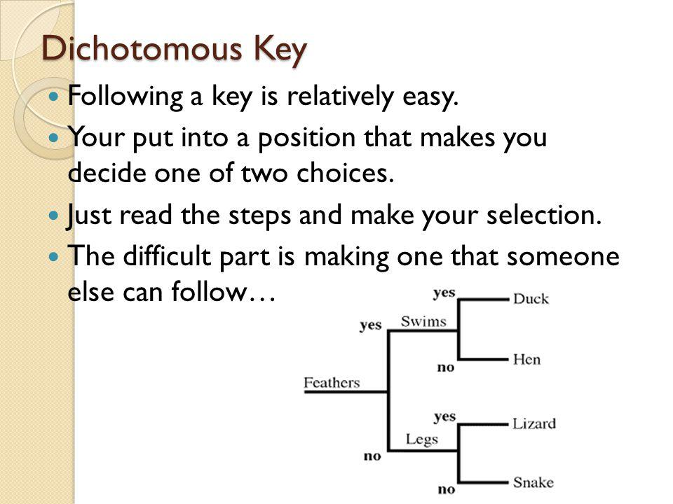 Dichotomous Key Following a key is relatively easy. Your put into a position that makes you decide one of two choices. Just read the steps and make yo