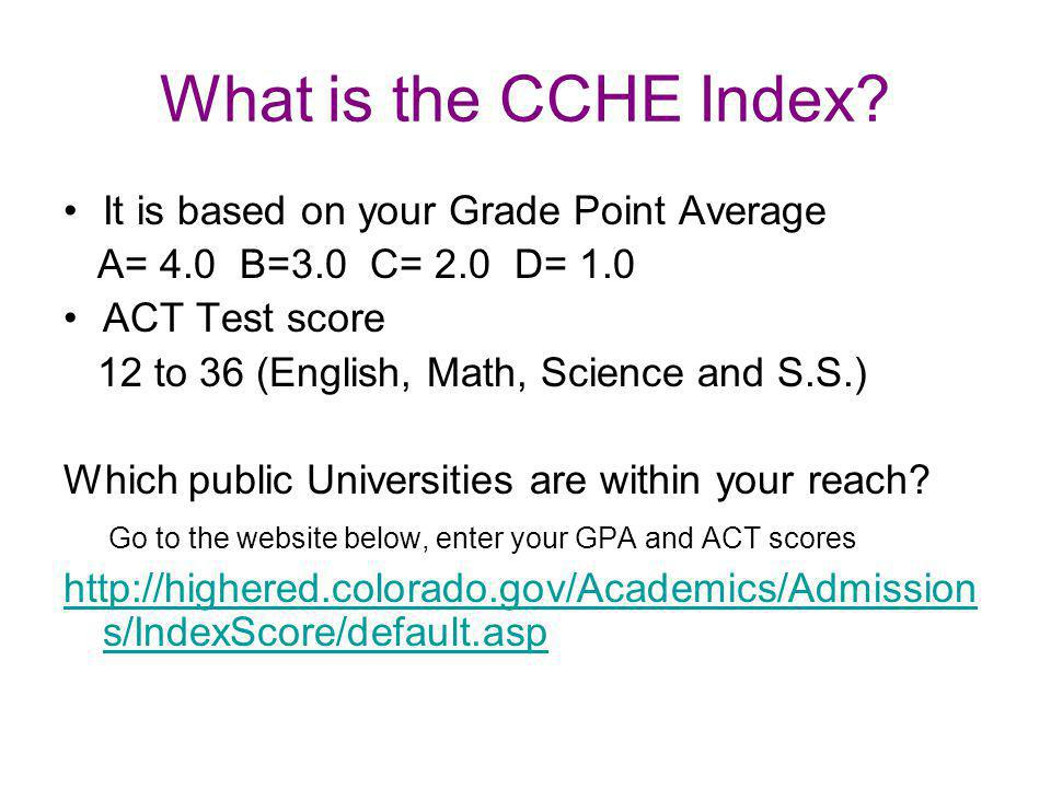 What is the CCHE Index.