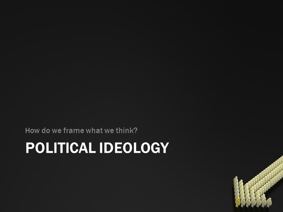 POLITICAL IDEOLOGY How do we frame what we think?