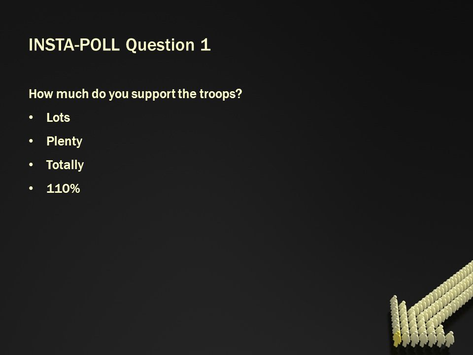 INSTA-POLL Question 1 How much do you support the troops? Lots Plenty Totally 110%