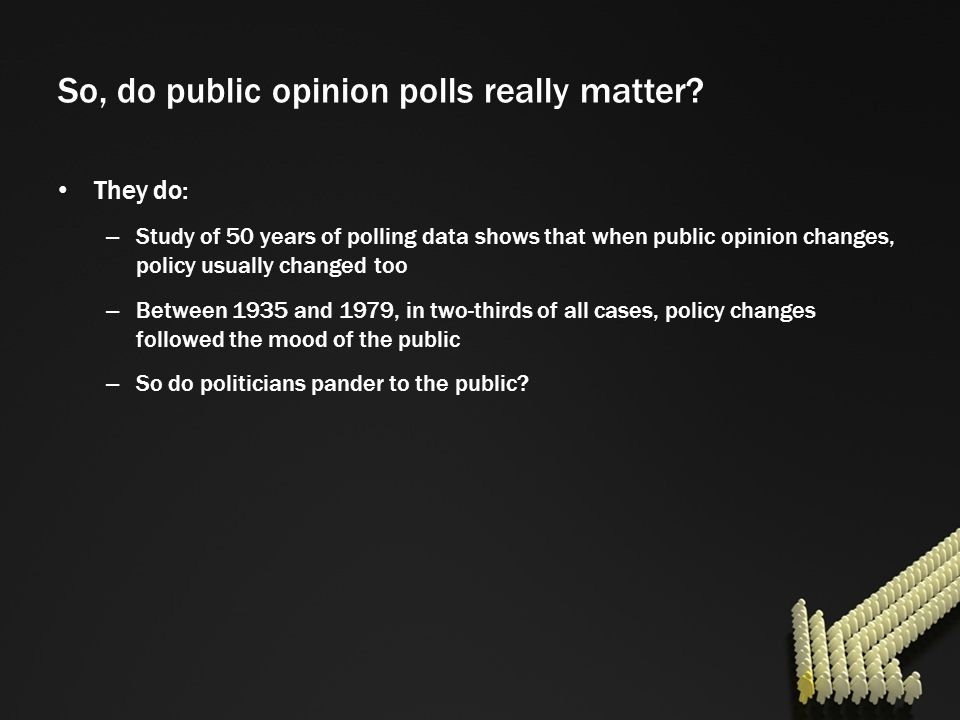 So, do public opinion polls really matter? They do: – Study of 50 years of polling data shows that when public opinion changes, policy usually changed