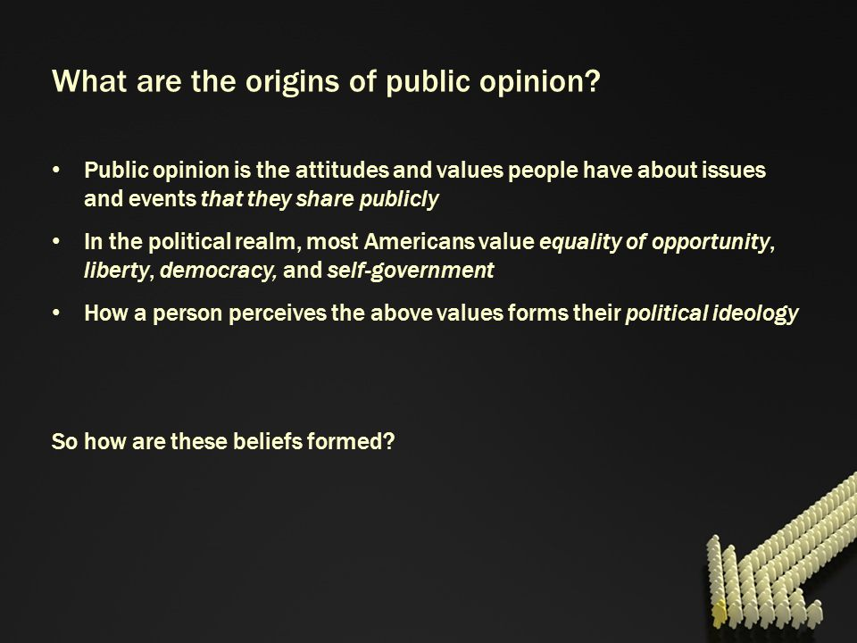 What are the origins of public opinion? Public opinion is the attitudes and values people have about issues and events that they share publicly In the