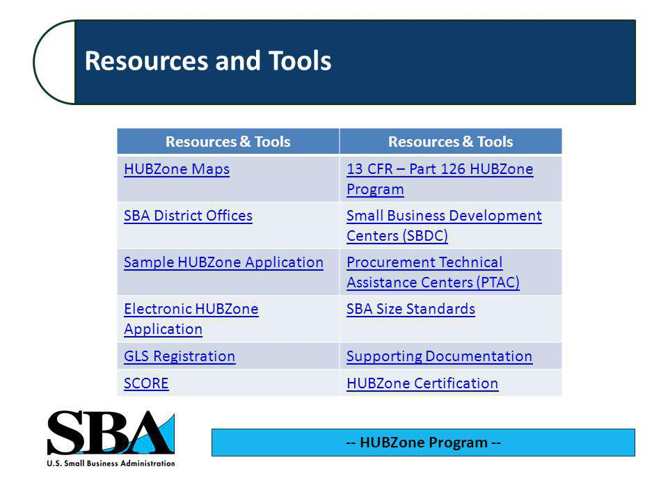 -- HUBZone Program -- Resources & Tools HUBZone Maps13 CFR – Part 126 HUBZone Program SBA District OfficesSmall Business Development Centers (SBDC) Sample HUBZone ApplicationProcurement Technical Assistance Centers (PTAC) Electronic HUBZone Application SBA Size Standards GLS RegistrationSupporting Documentation SCOREHUBZone Certification