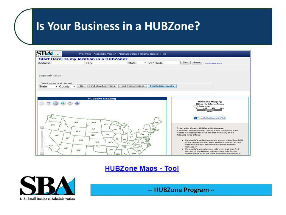 Is Your Business in a HUBZone? -- HUBZone Program -- HUBZone Maps - Tool