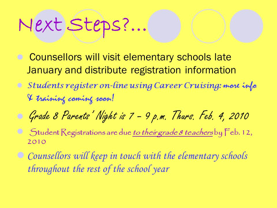 Next Steps?... Counsellors will visit elementary schools late January and distribute registration information Students register on-line using Career C
