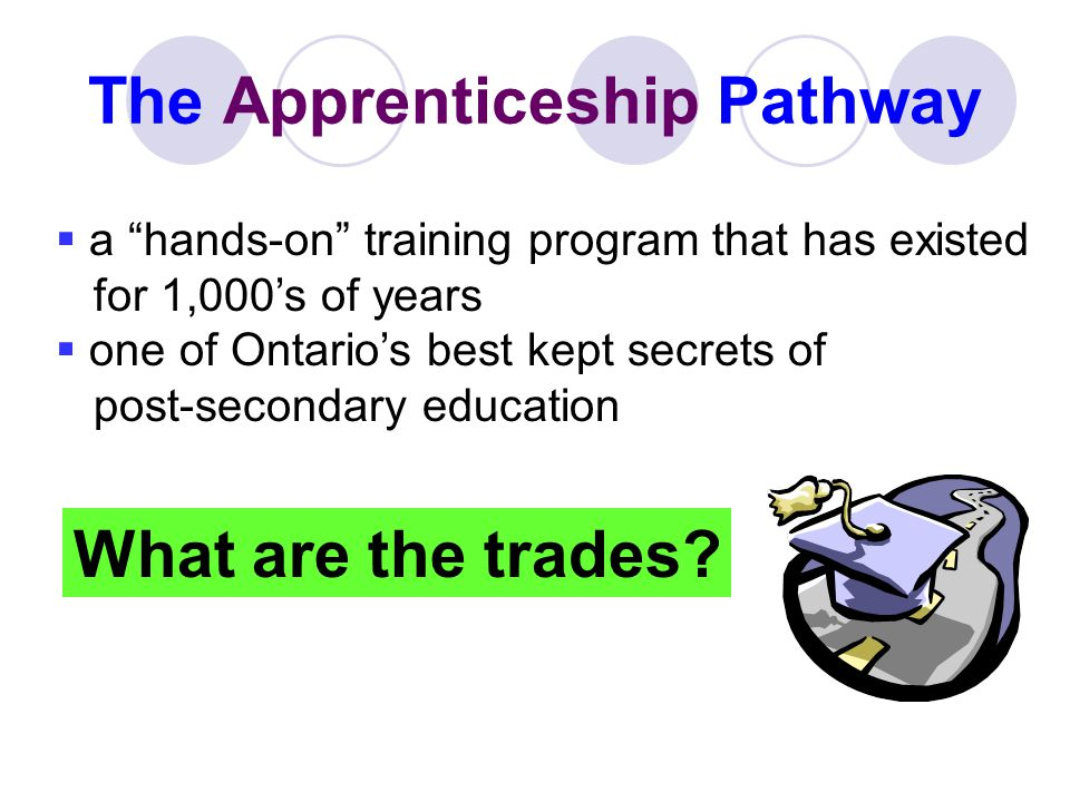 The Apprenticeship Pathway a hands-on training program that has existed for 1,000s of years one of Ontarios best kept secrets of post-secondary educat