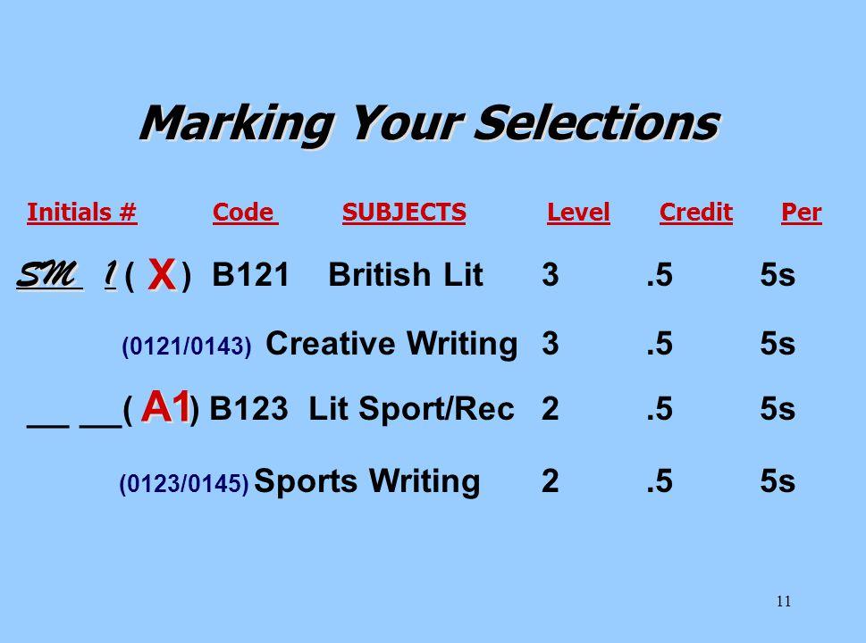 11 Initials # Code SUBJECTS Level Credit Per ( ) B121 British Lit3.5 5s (0121/0143) Creative Writing3.5 5s __ __ ( ) B123 Lit Sport/Rec2.5 5s (0123/01