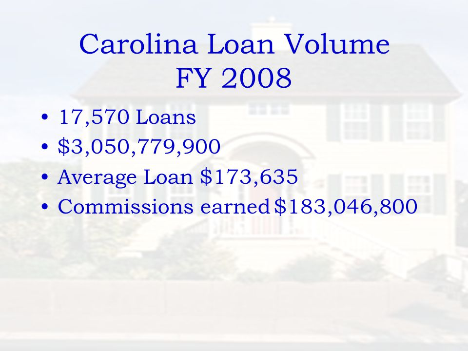 Carolina Loan Volume FY 2008 17,570 Loans $3,050,779,900 Average Loan $173,635 Commissions earned$183,046,800