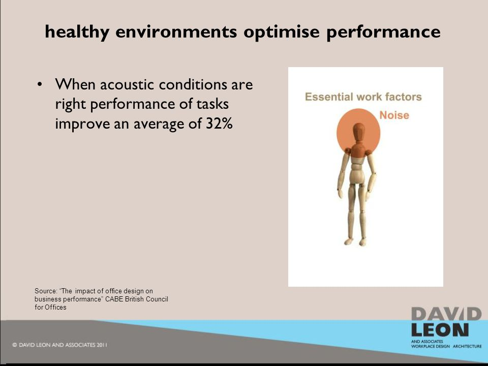 2010 healthy environments optimise performance When acoustic conditions are right performance of tasks improve an average of 32% Source: The impact of office design on business performance CABE British Council for Offices