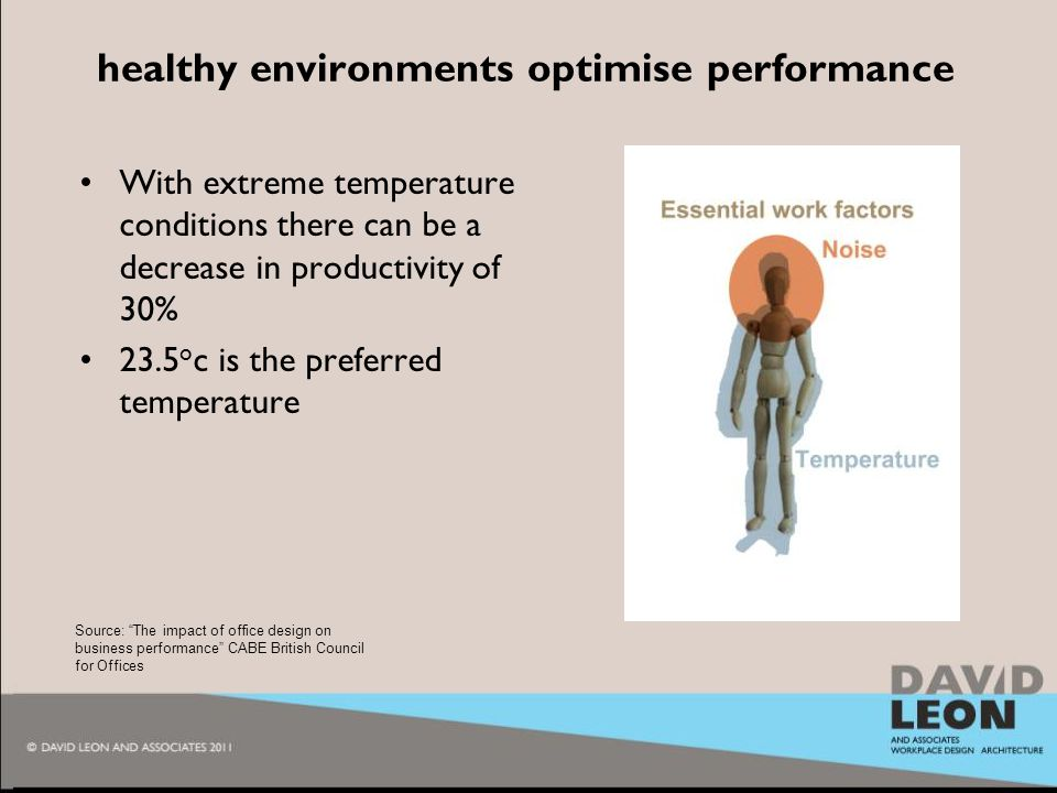 2010 healthy environments optimise performance With extreme temperature conditions there can be a decrease in productivity of 30% 23.5 o c is the preferred temperature Source: The impact of office design on business performance CABE British Council for Offices