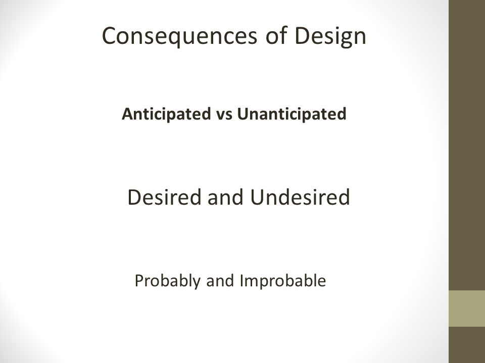 Consequences of Design Anticipated vs Unanticipated Desired and Undesired Probably and Improbable