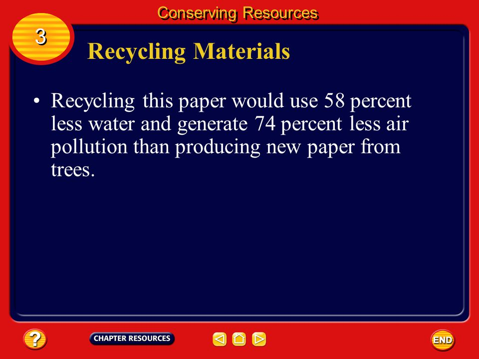 Recycling Materials 3 3 Conserving Resources People in the United States throw away enough office and writing paper each year to build a wall 3.6 m hi