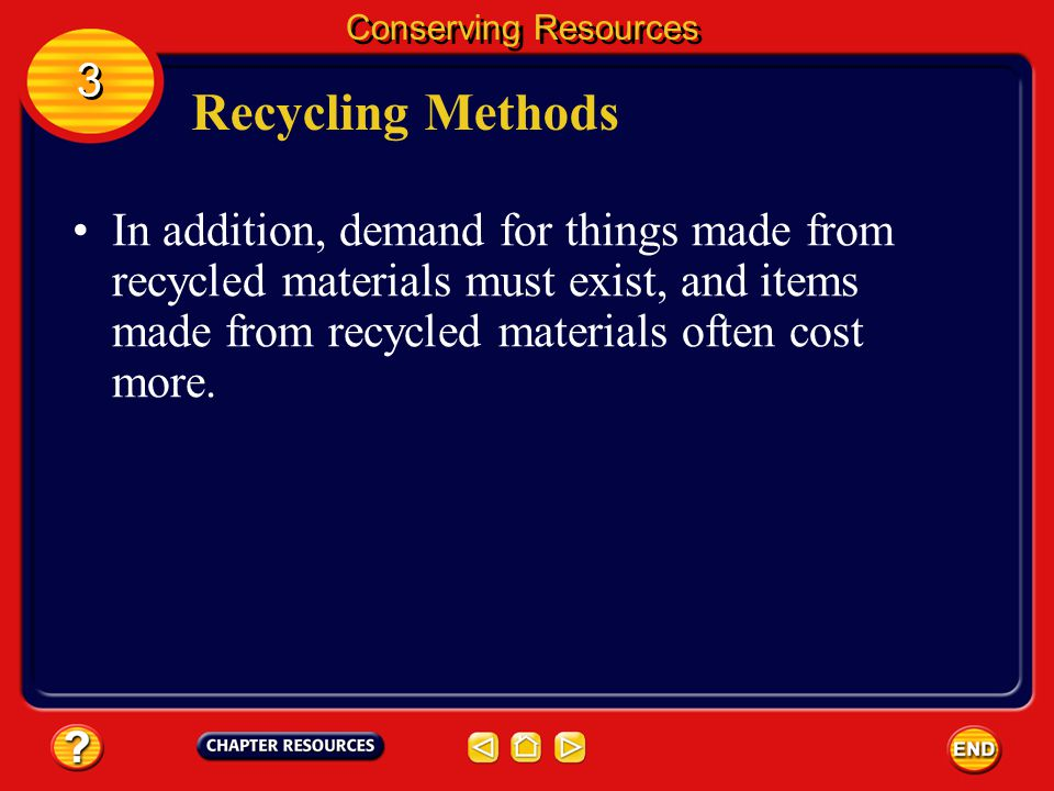 Recycling Methods There are several disadvantages to recycling. 3 3 Conserving Resources More people and trucks are needed to haul materials separatel
