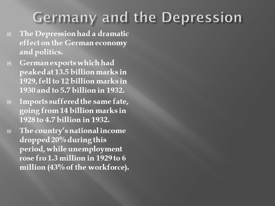 The Depression had a dramatic effect on the German economy and politics. German exports which had peaked at 13.5 billion marks in 1929, fell to 12 bil