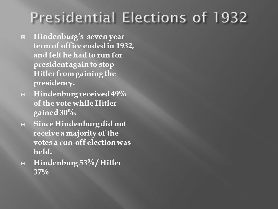 Hindenburgs seven year term of office ended in 1932, and felt he had to run for president again to stop Hitler from gaining the presidency. Hindenburg