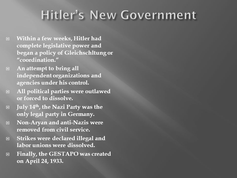 Within a few weeks, Hitler had complete legislative power and began a policy of Gleichschltung or coordination.