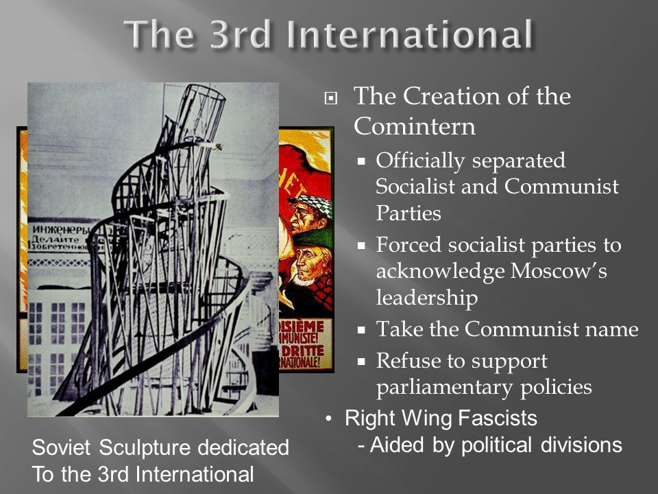 The Creation of the Comintern Officially separated Socialist and Communist Parties Forced socialist parties to acknowledge Moscows leadership Take the Communist name Refuse to support parliamentary policies Right Wing Fascists - Aided by political divisions Soviet Sculpture dedicated To the 3rd International