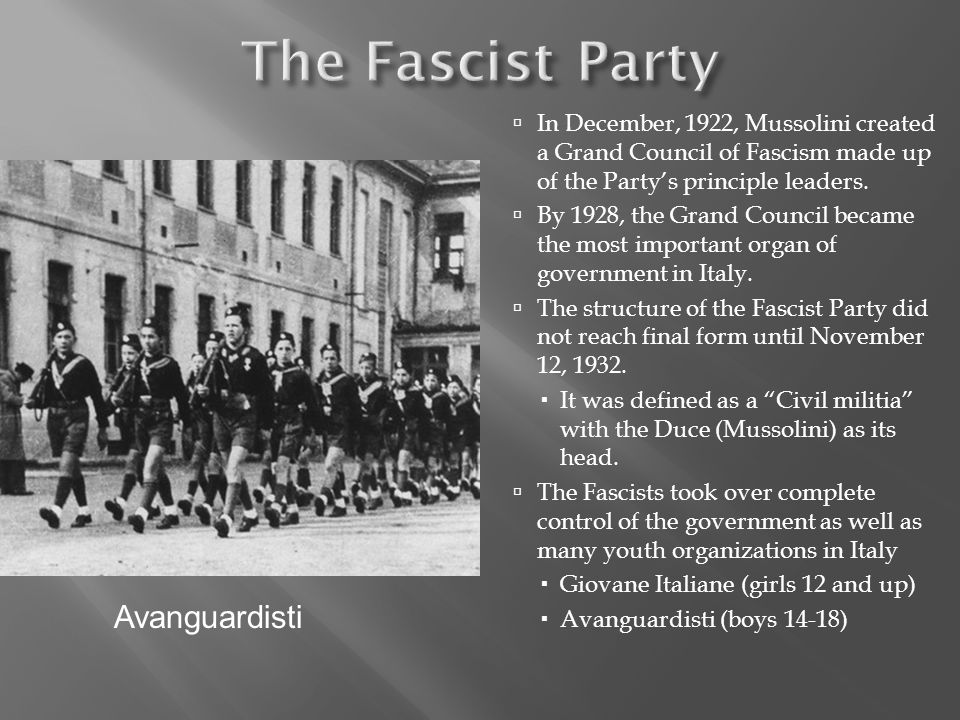 In December, 1922, Mussolini created a Grand Council of Fascism made up of the Partys principle leaders.