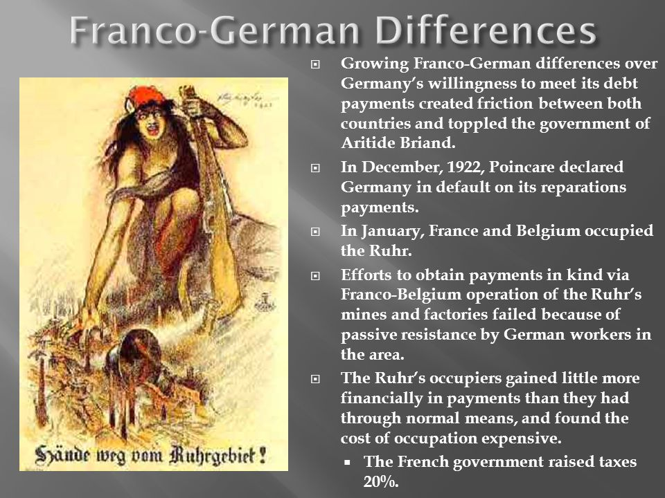 Growing Franco-German differences over Germanys willingness to meet its debt payments created friction between both countries and toppled the government of Aritide Briand.