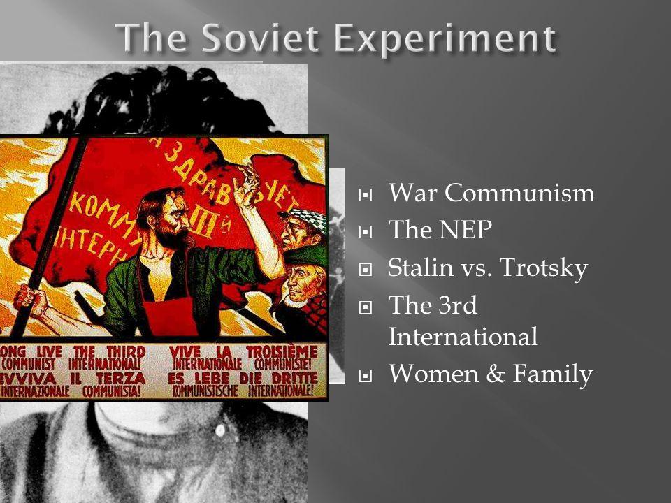 War Communism The NEP Stalin vs. Trotsky The 3rd International Women & Family