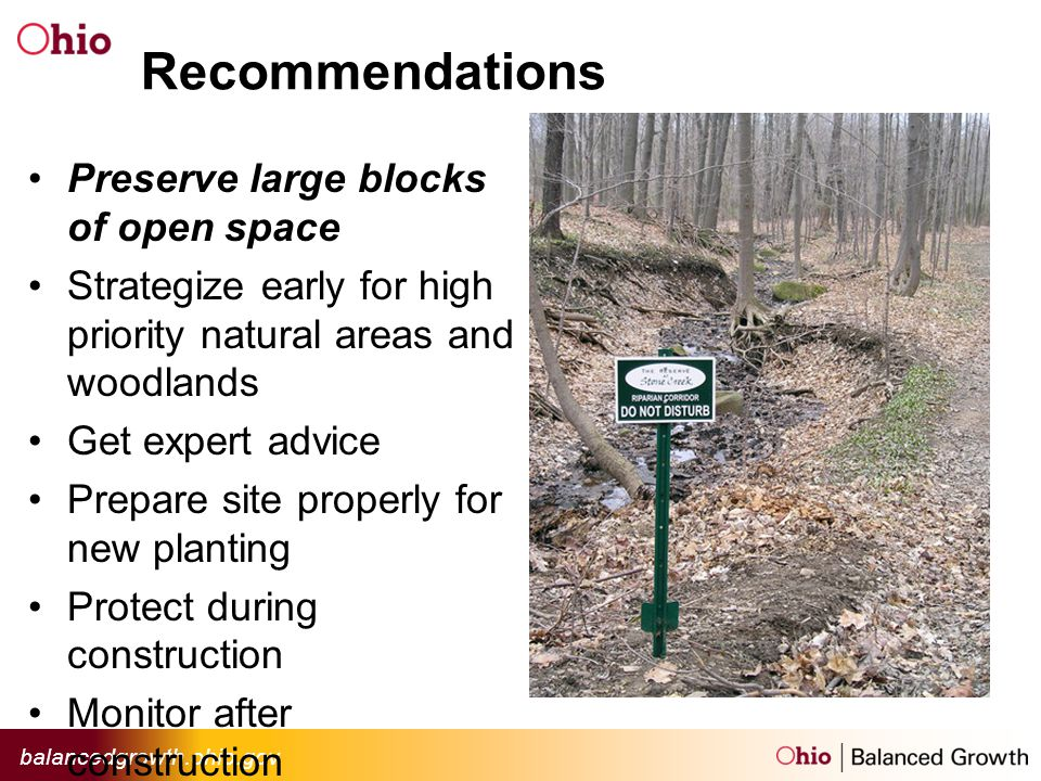 balancedgrowth.ohio.gov Recommendations Preserve large blocks of open space Strategize early for high priority natural areas and woodlands Get expert advice Prepare site properly for new planting Protect during construction Monitor after construction