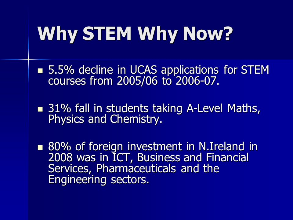 Why STEM Why Now. 5.5% decline in UCAS applications for STEM courses from 2005/06 to 2006-07.