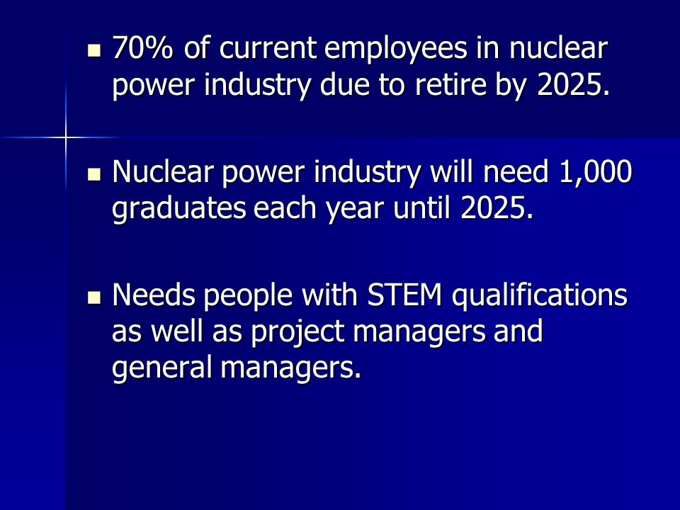 70% of current employees in nuclear power industry due to retire by 2025.