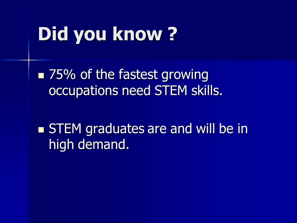 Did you know ? 75% of the fastest growing occupations need STEM skills. 75% of the fastest growing occupations need STEM skills. STEM graduates are an