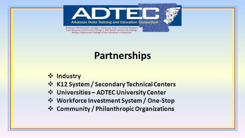 Partnerships Industry K12 System / Secondary Technical Centers Universities – ADTEC University Center Workforce Investment System / One-Stop Community