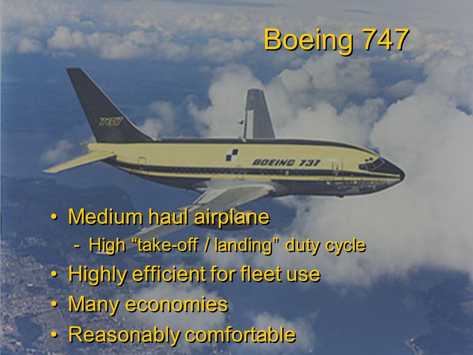 Student Name Server Utah School of Computing slide 32 Fall 2009 Boeing 747 Medium haul airplane -High take-off / landing duty cycle Highly efficient for fleet use Many economies Reasonably comfortable Medium haul airplane -High take-off / landing duty cycle Highly efficient for fleet use Many economies Reasonably comfortable