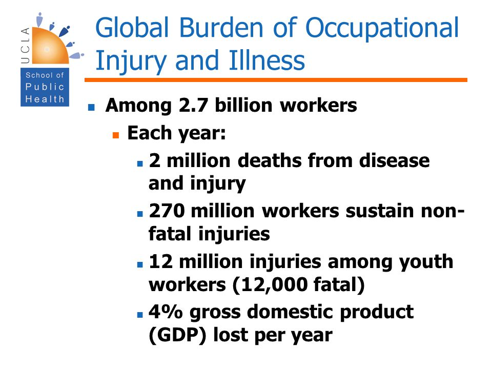Global Burden of Occupational Injury and Illness Among 2.7 billion workers Each year: 2 million deaths from disease and injury 270 million workers sus