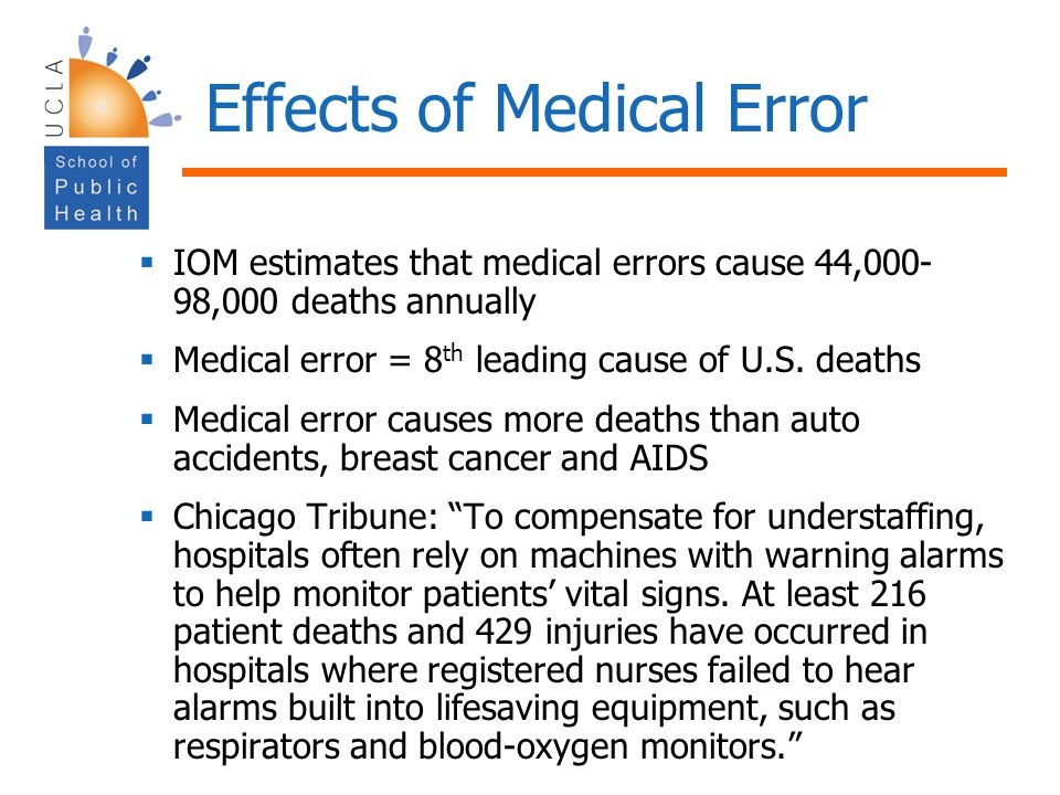 Effects of Medical Error IOM estimates that medical errors cause 44,000- 98,000 deaths annually Medical error = 8 th leading cause of U.S.