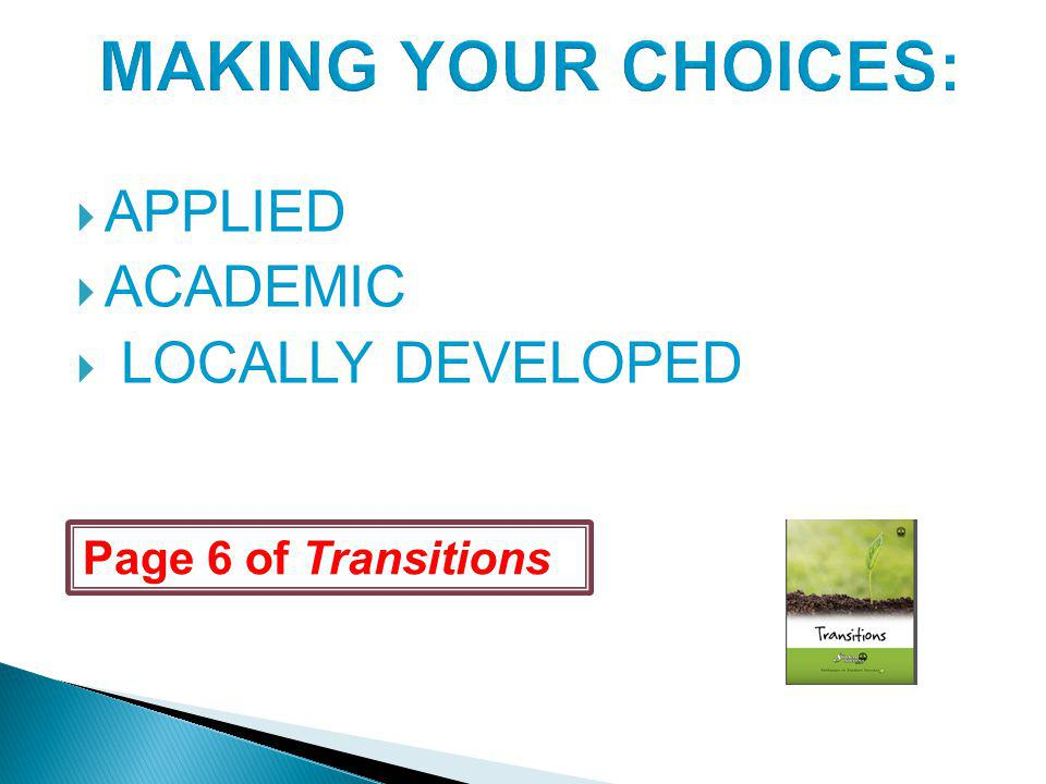 Page 6 of Transitions APPLIED ACADEMIC LOCALLY DEVELOPED
